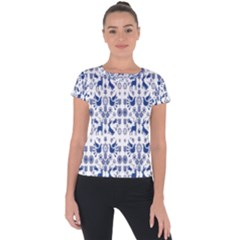 Rabbits Deer Birds Fish Flowers Floral Star Blue White Sexy Animals Short Sleeve Sports Top