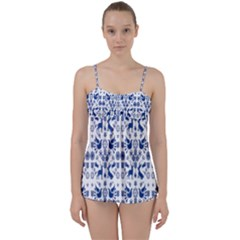 Rabbits Deer Birds Fish Flowers Floral Star Blue White Sexy Animals Babydoll Tankini Set