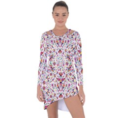Peacock Rainbow Animals Bird Beauty Sexy Flower Floral Sunflower Star Asymmetric Cut Out Shift Dress
