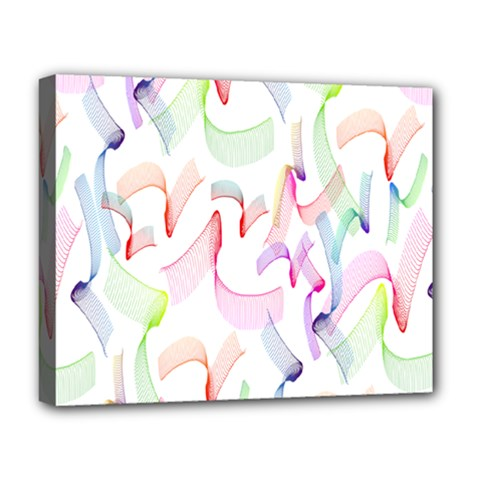 Rainbow Green Purple Pink Red Blue Pattern Zommed Deluxe Canvas 20  X 16