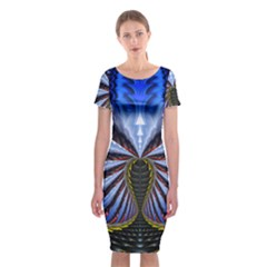 Illustration Robot Wave Classic Short Sleeve Midi Dress