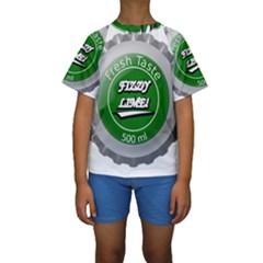 Fresh Taste Fizzy Lime Bottle Cap Kids  Short Sleeve Swimwear