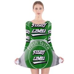 Fresh Taste Fizzy Lime Bottle Cap Long Sleeve Velvet Skater Dress