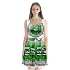 Fresh Taste Fizzy Lime Bottle Cap Split Back Mini Dress