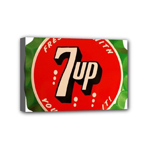 Fresh Up With  7 Up Bottle Cap Tin Metal Mini Canvas 6  X 4