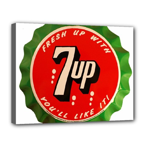 Fresh Up With  7 Up Bottle Cap Tin Metal Canvas 14  X 11