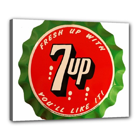 Fresh Up With  7 Up Bottle Cap Tin Metal Canvas 20  X 16