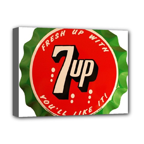 Fresh Up With  7 Up Bottle Cap Tin Metal Deluxe Canvas 16  X 12