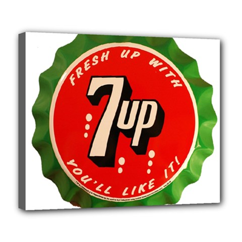 Fresh Up With  7 Up Bottle Cap Tin Metal Deluxe Canvas 24  X 20