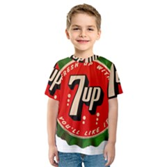 Fresh Up With  7 Up Bottle Cap Tin Metal Kids  Sport Mesh Tee
