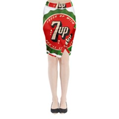 Fresh Up With  7 Up Bottle Cap Tin Metal Midi Wrap Pencil Skirt