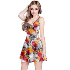 Orange & Red Roses Skulls Reversible Sleeveless Dress