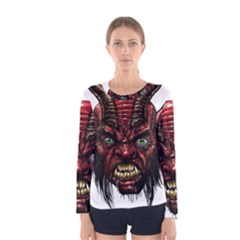 Krampus Devil Face Women s Long Sleeve Tee