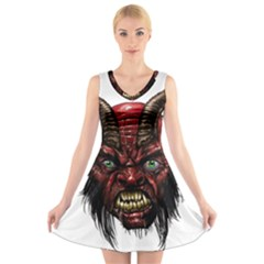 Krampus Devil Face V Neck Sleeveless Skater Dress