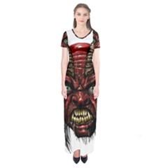 Krampus Devil Face Short Sleeve Maxi Dress