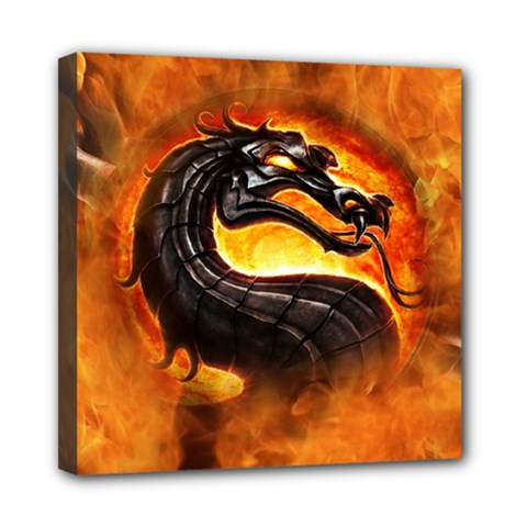 Dragon And Fire Mini Canvas 8  X 8