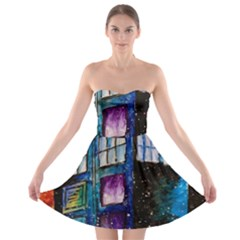 Dr Who Tardis Painting Strapless Bra Top Dress