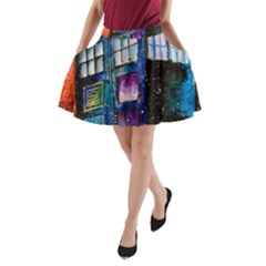 Dr Who Tardis Painting A Line Pocket Skirt