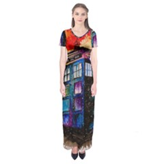 Dr Who Tardis Painting Short Sleeve Maxi Dress