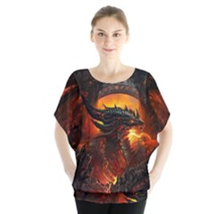 Dragon Legend Art Fire Digital Fantasy Blouse