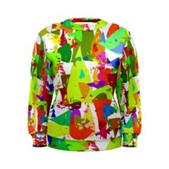 Colorful Shapes On A White Background                              Women s Sweatshirt