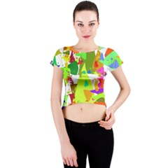 Colorful Shapes On A White Background                             Crew Neck Crop Top