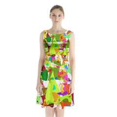 Colorful Shapes On A White Background                                 Sleeveless Waist Tie Dress