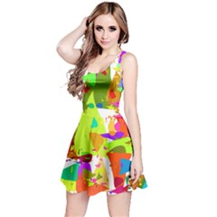 Colorful Shapes On A White Background                             Sleeveless Dress