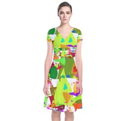 Colorful Shapes On A White Background                        Short Sleeve Front Wrap Dress