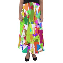 Colorful Shapes On A White Background                           Flared Maxi Skirt