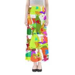 Colorful Shapes On A White Background                        Women s Maxi Skirt