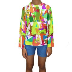Colorful Shapes On A White Background                              Kid s Long Sleeve Swimwear