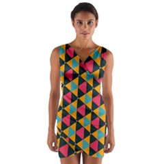 Triangles Pattern                              Wrap Front Bodycon Dress