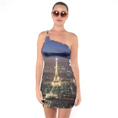 Paris At Night One Soulder Bodycon Dress