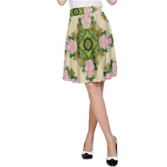 92 Gcvgrab 0099z Yellow Roses Tulips Pink Daisy A Line Skirt