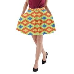 Yellow Green Blue Beige A Line Pocket Skirt