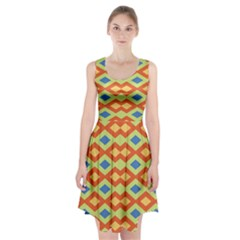 Yellow Green Blue Beige Racerback Midi Dress
