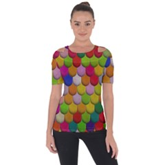 Colorful Tiles Pattern                     Shoulder Cut Out Short Sleeve Top