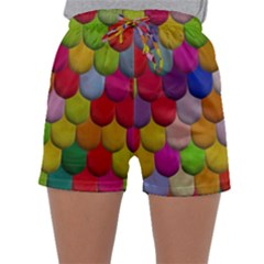 Colorful Tiles Pattern                          Women s Satin Sleepwear Sleeve Shorts