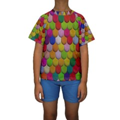 Colorful Tiles Pattern                            Kid s Short Sleeve Swimwear