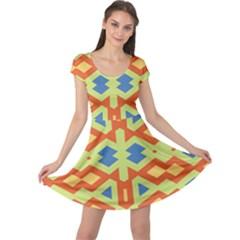 Bcvst0098c Yellow Green Blue Beige Cap Sleeve Dress