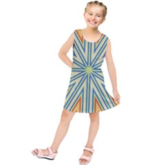 Ccvst0098 Yellow Orange Green Blue Rays Kids  Tunic Dress