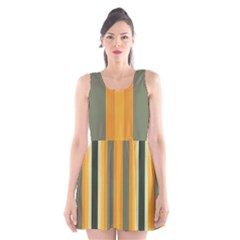 Cvst0092 Yellow Orange Green Gray Beige Stripes Scoop Neck Skater Dress