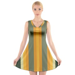 Cvst0092 Yellow Orange Green Gray Beige Stripes V Neck Sleeveless Skater Dress