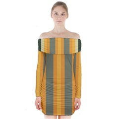 Cvst0092 Yellow Orange Green Gray Beige Stripes Long Sleeve Off Shoulder Dress