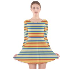 Cvst0093 Yellow Orange Green Blue Stripes Long Sleeve Velvet Skater Dress