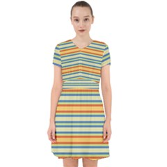 Cvst0093 Yellow Orange Green Blue Stripes Adorable In Chiffon Dress