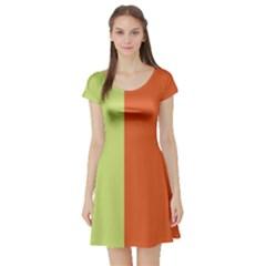Cvst0094 Yellow Orange Green Blue Stripes Short Sleeve Skater Dress