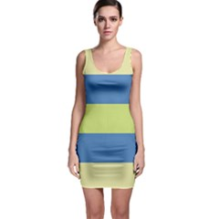 Cvst0095 Beige Blue Green Stripes Bodycon Dress