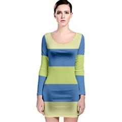 Cvst0095 Beige Blue Green Stripes Long Sleeve Bodycon Dress